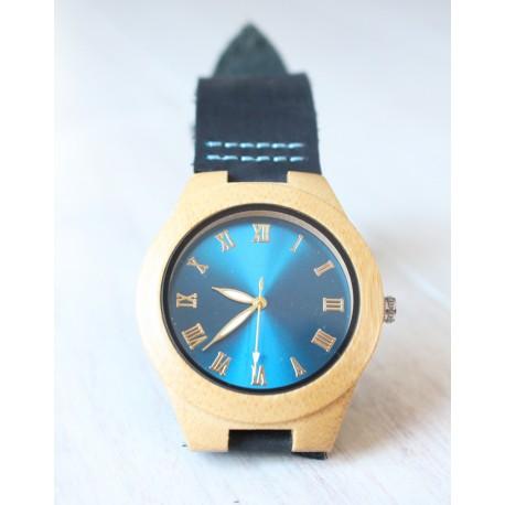 Damski drewniany zegarek GLOSSY BLUE