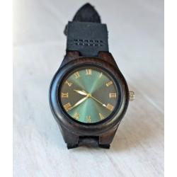 Damski drewniany zegarek GLOSSY GREEN