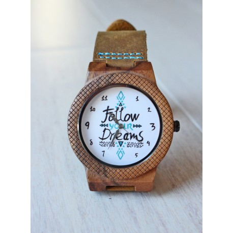 Drewniany zegarek FOLLOW YOUR DREAMS EAGLE