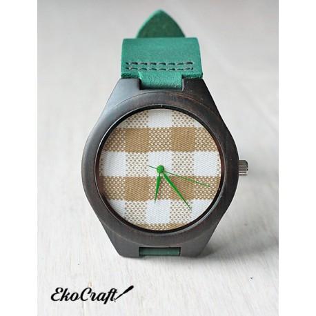 Drewniany zegarek BLACK SANDAL CHECK