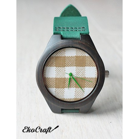 Wooden watch  BLACK SANDAL CHECK