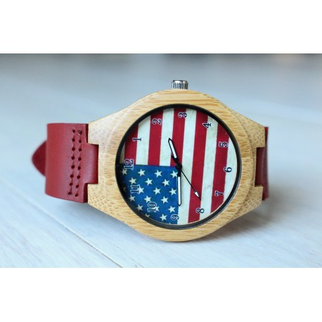 Wooden watch AMERICA