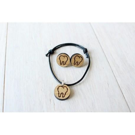 ZESTAW drewniane kolczyki + bransoletka ZĄB