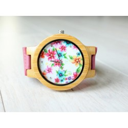 Wooden watch FLOWERS