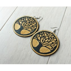Long wooden earrings TREE