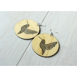 Long wooden earrings HUMMING-BIRD