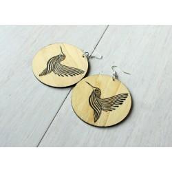 Long wooden earrings HUMMING-BIRD