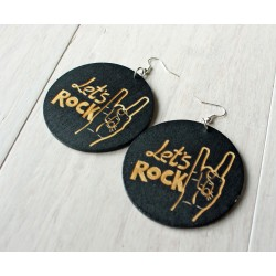 Long wooden earrings LET'S ROCK