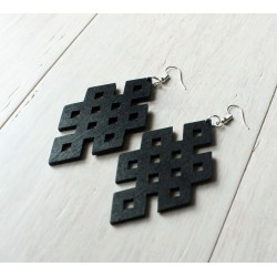 Long wooden black earrings