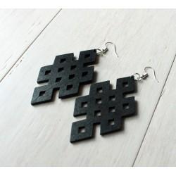 Long wooden black earrings