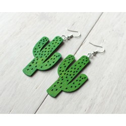 Long wooden Cactus earrings