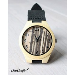 Wooden watch BLACK WHITE ZEBRA