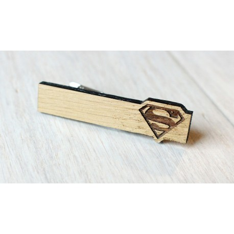 Oak Tie Clip SUPERMAN