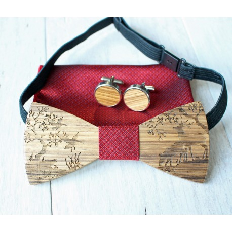 Wooden bow tie set Forest red