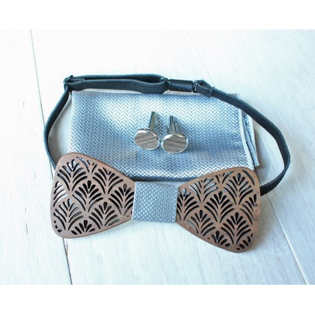 Wooden bow tie set Leaf silver