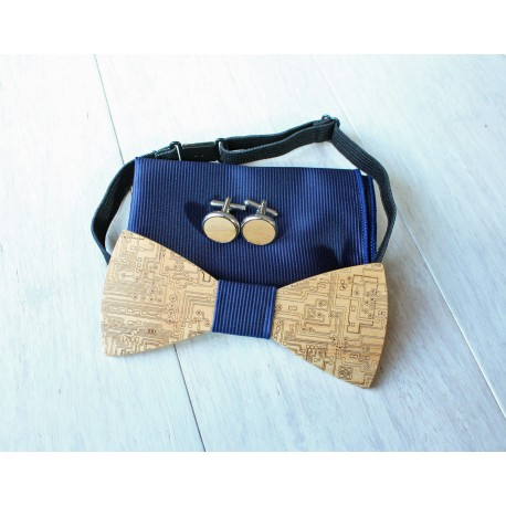 Wooden bow tie set Forest blue
