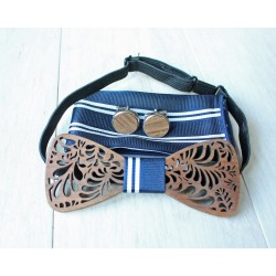 Wooden bow tie set Leaf silver