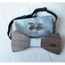 Wooden bow tie set Puzzle silver