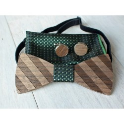 Wooden bow tie set STRAPS green