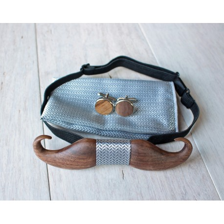 Wooden bow tie set Mustache silver