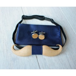 Wooden bow tie set Mustache blue