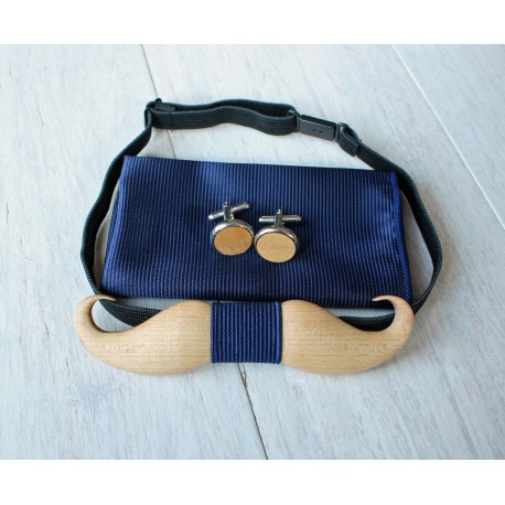 Wooden bow tie set Mustache blue