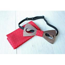 Wooden bow tie set Puzzle blue
