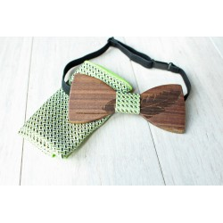 Wooden bow tie set FEATHER green