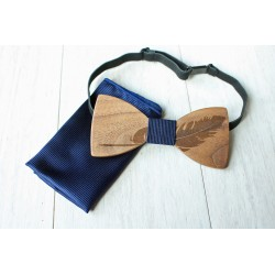 Wooden bow tie set FEATHER blue