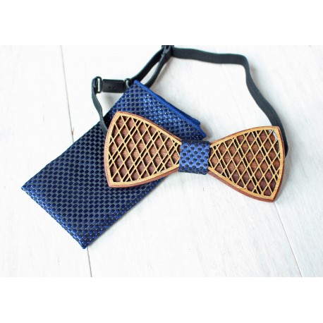 Wooden bow tie set DOUBLE blue