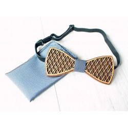 Wooden bow tie set DOUBLE grey