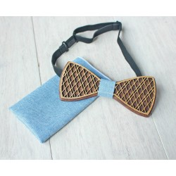 Wooden bow tie set DOUBLE light blue