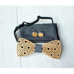 Wooden bow tie set Spots black
