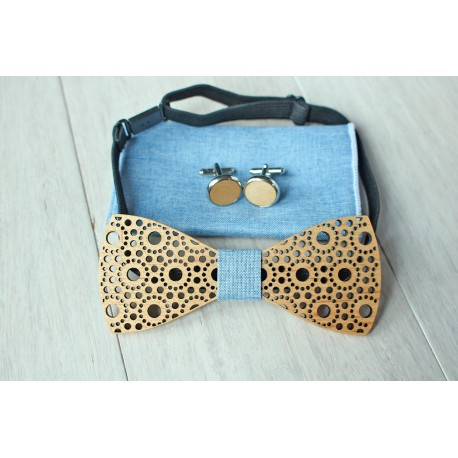 Wooden bow tie set Spots light blue