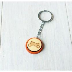Natural wooden keychain MOTORBIKE