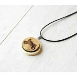 Natural wooden necklace MOTORBIKE