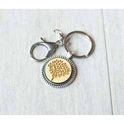 Natural wooden keychain with stainless steel base TREE