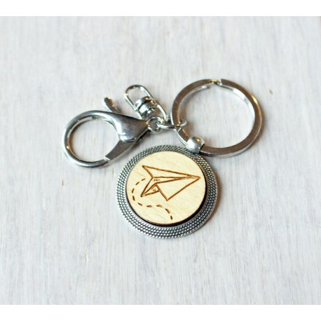 Natural wooden keychain with stainless steel base PAPERPLANE