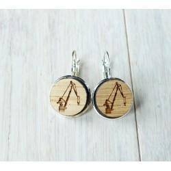 Wooden earrings CRANE