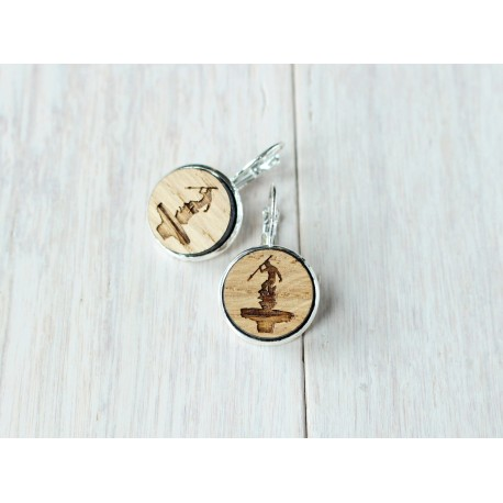 Wooden earrings NEPTUNE