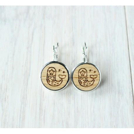 Wooden earrings MERMAID