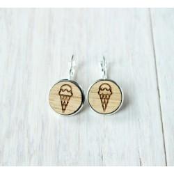 Wooden earrings ICE CREAM