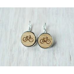 Wooden earrings BICYCLE