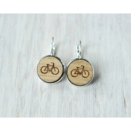 Wooden earrings BICYCLE