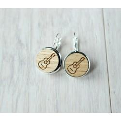 Wooden earrings GUITAR