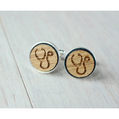 Stethoscope wooden cufflinks