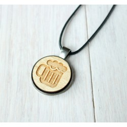 Natural wooden necklace with steel base BALL