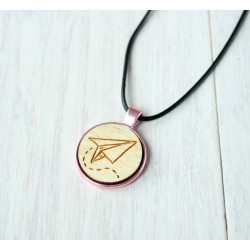 Natural wooden necklace with steel base BEER