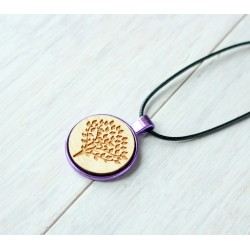 Natural wooden necklace with steel base GINGERBREAD