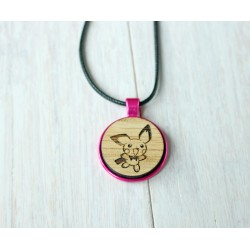 Natural wooden necklace with steel base TREE